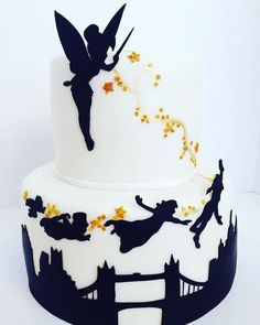 Pink City Cakes - Moreno Valley, CA, United States. Peter Pan & Tinkerbell silhouette cake: