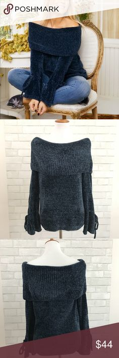 LC Lauren Conrad chenille off shoulder sweater Currently SOLD OUT on the website LC Lauren Conrad Blue chenille off the shoulder sweater with tie sleeves. Size small. Excellent condition. Beautiful blue color. LC Lauren Conrad Sweaters
