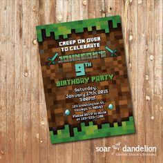 Hey, I found this really awesome Etsy listing at https://www.etsy.com/listing/213095533/minecraft-birthday-party-invitation