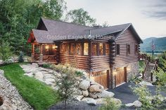 Photos and floor plans of this custom home are at www.GoldenEagleLogHomes.com #loghomes #logcabins #loghome #logcabin #outdoors #wood #nature #GoldenEagleLogHomes #GELHNorthCarolina