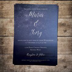 Printable Wedding Invitation, Blue Wedding Invitation, Night Sky Wedding Invitation, Navy Blue Wedding Invite, Starry Night Invitation