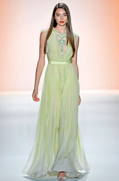 Gorgeous green dress on the runway mimics Benjamin Moore's 2015 Color of the Year, Guilford Green.