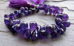 Amethyst Faceted Teardrop Briolettes - such a beautiful color! #amethyst #beads #supplies
