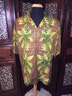 f4eb0a703 Mens Tommy Bahama Hawaiian Shirt Size XL Brown Green Yellow Floral Pattern  SS #TommyBahama #