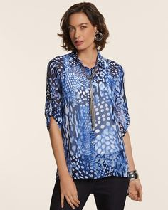 aa5191bf8485 Petite Animal Blues Charli Top #chicos Really cute shirt.... Blue Tops