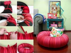 HACER DE COMO Puf Silla de Antiguo Tire DIY Tutorial