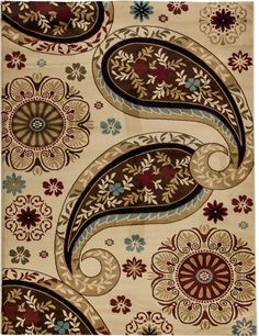 Pinned from RugLots - Rug Lots // French Paisley Ivory Modern Alana RugLots Area Rug (54222)