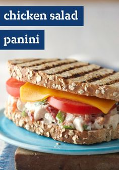 Chicken Salad Panini — Who wouldn't enjoy a better-for-you Chicken Salad Panini with melted Cheddar and fresh tomatoes on hearty multigrain bread?