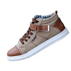Men Casual canvas denim boat shoes flat Ankle boot lace u...