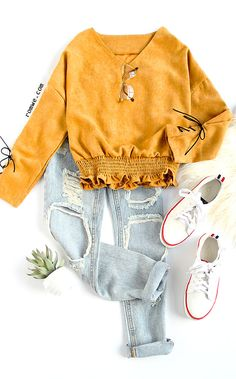 V Neck Lace Up Cuff Shirred Hem Blouse