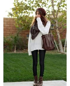 sweater outfit clothes winter fashion bag scarf shoes. Brown boots, black pants/leggings, oversized white sweater.