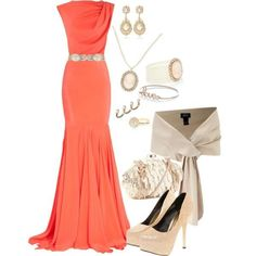 coral dress for a pop of color Polyvore Outfits, Look Fashion, Fashion Outfits, Womens Fashion, Fashion Ideas, Workwear Fashion, Fashion 2014, Trending Fashion, Fashion Shoes