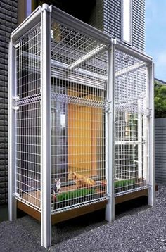 Outdoor cat patio! If we had this, Casey's litter box would be out there pronto!