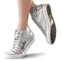 Silver Sequin High-Top Dance Sneaker; Balera