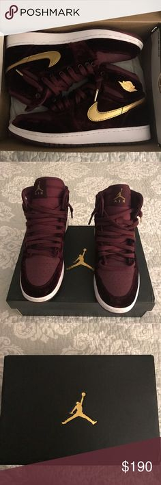 Nike Air Jordan1s Velvet Maroons NIBSize-6.5Y NIB Nike Air Jordan 1s Velvet Night Maroons with Gold Hightop which is part of the Heirness Collection of Jordans which his daughter showcased on Halloween of 2016 , these sneakers are beautiful have been tired on with maroon velvet upper on the overlay which make a nice contrast with the hot gold on the swoosh,tongue  metal wing detail, the sneaker also has white midsole/ matching outer sole, from smoke free home. Nike Air Jordan Shoes Sne...