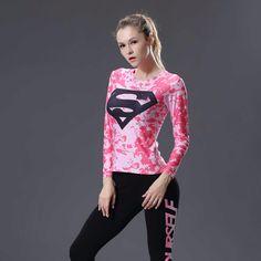 Mulheres T shirt Do Corpo Armadura traje Maravilha Superman Batman 3 d impressão T Camisa Da Menina de Manga Longa Calças De Fitness Compressão tshirts em Camisetas de Das mulheres Roupas & Acessórios no AliExpress.com | Alibaba Group