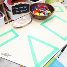 Can you fill the shape? provocation for kindergarten fine motor center. Use pattern blocks to fill in the shapes and build spatial awareness in your kindergarten students. **could do on the light table 2d Shapes Kindergarten, Kindergarten Inquiry, Kindergarten Centers, Kindergarten Classroom, Classroom Ideas, Kindergarten Lessons, Reggio, Geo Board, Preschool Activities