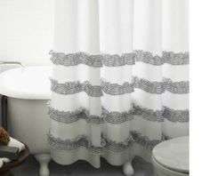 White Shower Curtain With Stone Grey Ticking Stripe Ruffle Natural Linen Bathroom