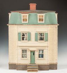 Handmade & Painted Colonial Style Dollhouse : Lot 20. Nice simple style old colonial dollhouse. .....Rick Maccione-Dollhouse Builder www.dollhousemansions.com   Woodbury, CT