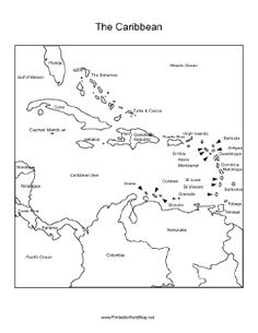 Caribbean Sea region labeled with the names of each location, including Cuba, Haiti, Puerto Rico, the Dominican Republic and more. Geography Worksheets, Map Worksheets, Teaching Geography, World Geography, Caribbean Sea, Central America Map, Map Of Cuba, Pirate Maps, Porto
