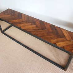 Upcycled Handmade Parquet Floor Bench by Ruby Rhino, the perfect gift for Explore more unique gifts in our curated marketplace. Reclaimed Parquet Flooring, Hall Flooring, Kitchen Flooring, Kitchen Backsplash, Dining Room Table, Dining Area, Parkay Flooring, Woodworking Projects, Diy Projects