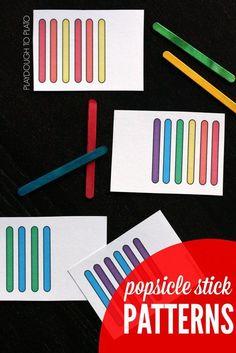 Such a fun kindergarten math activity! Practice patterns with rainbow popsicle sticks.