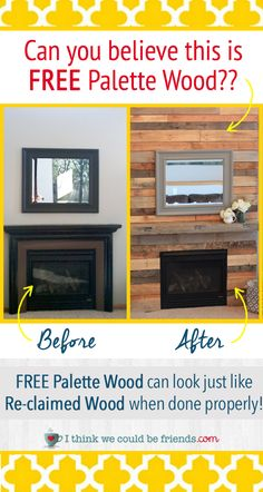 Palette Wood Fireplace Surround looks just like re-claimed wood- Love the warmth…