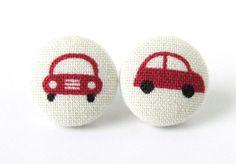 Car stud earrings button kawaii white red kids by KooKooCraft, €9.00 $12