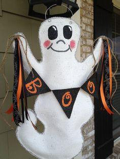 Ghost Burlap Door Hanger by ILoveItDesigns on Etsy, $30.00