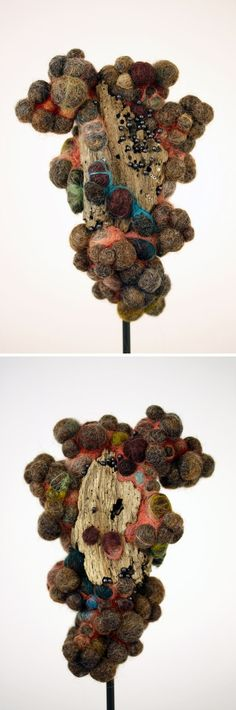 Felt Art by Jodi Colella - this piece reminds of a malformed flower - natural, yet somehow not. Textile Fiber Art, Textile Artists, Wet Felting, Needle Felting, Felt Pictures, Felt Dolls, Soft Sculpture, Wire Art, Felt Ornaments
