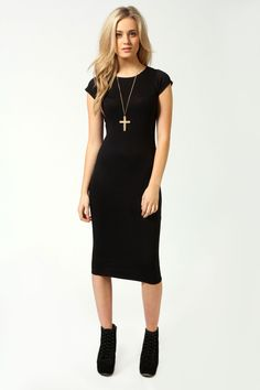Cara Cap Sleeve Jersey Bodycon Midi Dress