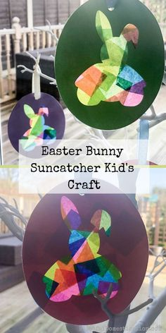This is a really simple craft to create these cute Easter Bunny Suncatchers. They are simple enough that kids of all ages can enjoy making them. Easter Craft Activities, Easter Crafts For Toddlers, Toddler Crafts, Preschool Crafts, Toddler Activities, Easter Arts And Crafts, Children Crafts, Preschool Printables, Art Activities