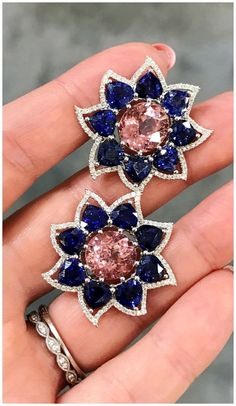 Campbellian Collection earrings in pink tourmaline and sapphire with diamonds.