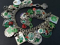 Vintage Charm Bracelet Collection - Clovers & Shamrocks 1 - Silver & Enamel Charm Bracelet - Click Image to Close Vintage Charm Bracelet, Silver Charm Bracelet, Silver Charms, Sterling Silver Bracelets, Vintage Jewelry, Silver Earrings, Gothic Jewelry, Jewelry Clasps, Charm Jewelry