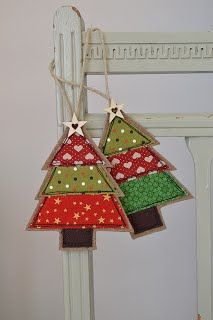 Handmade Fabric Christmas Tree decorations by Stitch Galore Decorated with appliqué and freehand machine embroidery. Fabric Christmas Decorations, Fabric Christmas Ornaments, Handmade Christmas Tree, Christmas Diy, Christmas Sleighs, Christmas Cards, Christmas Bunting, Christmas Applique, Handmade Ornaments