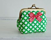 Coin Purse - Metal Frame Pouch - small - green circles