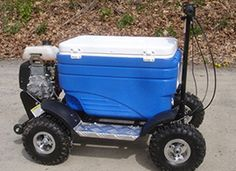Purchase the Cruzin Cooler & Crazy Cooler motorized scooters. We have both gas and electric powered riding coolers. Go all terrain with our Go Kart Cooler.