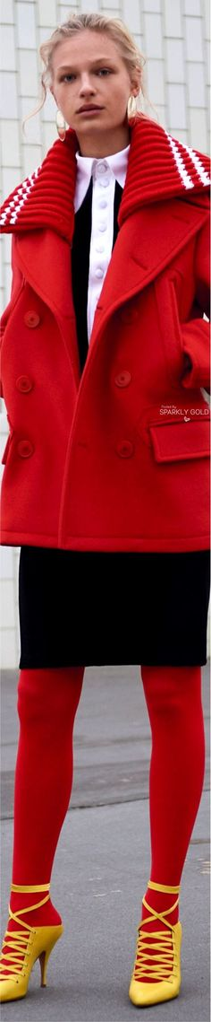 Givenchy Pre F-17: red coat with four pockets, black & white shirt, skirt, tigths.