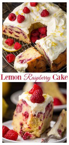 Moist and sunshiny sweet this Lemon Raspberry Bundt Cake is so perfect for Easter or Mothers Day brunch Loaded with fresh lemon zest lemon juice and raspberries this cake is loaded with flavor. Perfect for breakfast brunch or dessert Raspberry Recipes, Raspberry Cake, Blueberry Cake, Cupcakes, Cupcake Cakes, Cupcake Decoration, Lemon Bundt Cake, Bundt Cakes, Layer Cakes