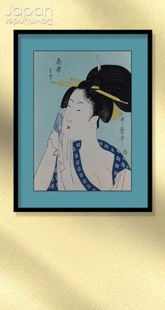A charming Utamaro (1750-1806) Japanese hand pressed woodblock reprint, titled, ' Ha... of the Southern Station.' A small format portrait of a famous courtesan drying the side of her face with a towel. She smiles as she looks to the side, her hair pulled back into a smooth bun adorned with hairpins. #japanesewoodblock #utamarowoodblockprint #japaneseartprint #japanesebeauty#haofthesouthernstation by #JapanDownUnder on Etsy Japanese Beauty, Japanese Art, Female Pleasure, Edo Era, Pulled Back Hairstyles, Japanese Screen, Spring Pictures, Maneki Neko, Woodblock Print