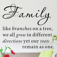 Quotes About Family | Do it ] Family like branches on a tree Quote wall stickers Fashion ...