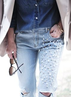 Do you have some old jeans in your closet you want to turn them and transform into brand new ones? If you do then we have some cool design inspired by the beauty of the pearls combined with denim.