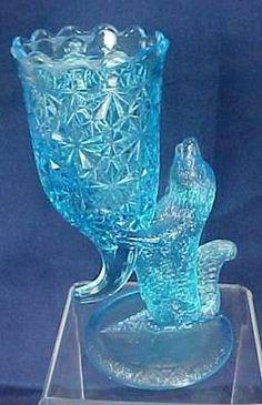 Novelty Blue Dog Vase - Columbia Glass Company Findlay, Ohio