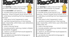 Free recount writing posters and resources for classrooms, teachers and parents.