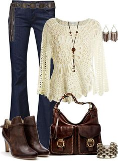 #fall #outfits / white cardigan + brown ankle boot