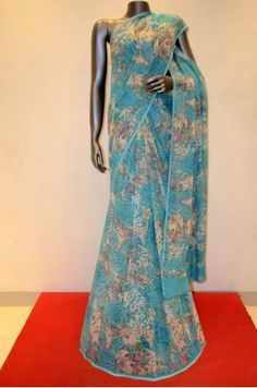 Floral Printed Pure Silk Chiffon Saree    Product Code: AA203864