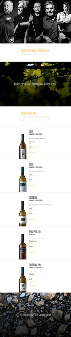 Responsive one pager promoting the 'Collio Vitae' project - a collaboration between 5 experienced wine makers. The intro vertical accordion for the team fills a big screen well and I like the quote/profile overlay transitions.