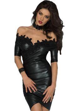 Robe de Cocktail Courte Noire Broderie Fleur Col Bateau Pas Cher www.modebuy.com @Modebuy #Modebuy #Noir #soldes #Noir #style