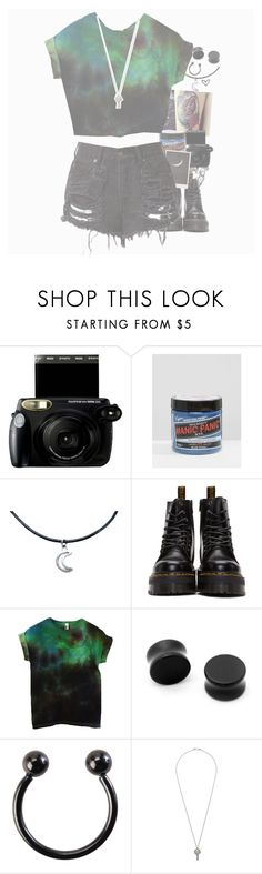"""IM BACK"" by imbored0 ❤ liked on Polyvore featuring Fujifilm, Manic Panic NYC, Dr. Martens and Hot Topic"