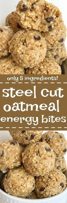 Steel cut oatmeal energy bites are an easy, 5 ingredient, healthy treat to make. Satisfy that late afternoon hunger with these simple & delicious no bake energy bites made with wholesome steel cut oats, coconut, honey, peanut butter, and chocolate chips.